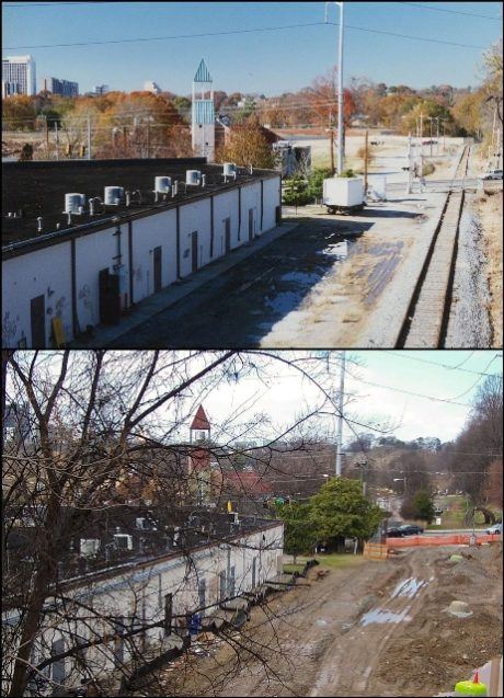 The Eastside Trail - with active rail in 1995 (above) and after rail removal in 2012 (below).