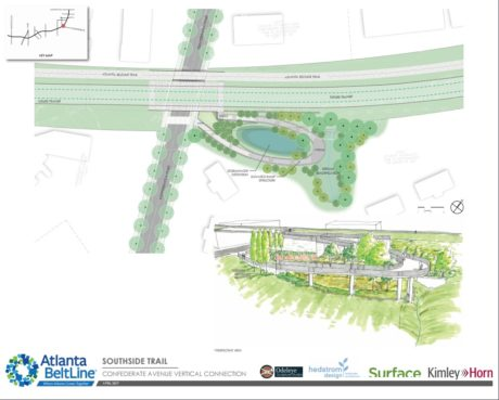 A Southside Trail rendering that includes both a design rendering and an artistic rendering for the connection at Confederate Avenue. View the presentation to see more.